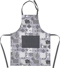 Șorț bucătărie de Crăciun Patchwork gri, 60 x 80 cm
