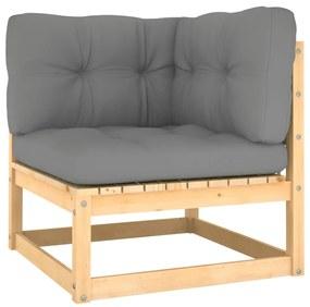805715 vidaXL Canapea colțar de grădină cu perne gri, lemn masiv de pin
