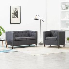 275632 vidaXL Set canapea Chesterfield 2 piese gri închis tapițerie țesătură