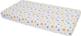 Cearceaf din bumbac cu elastic Yellow and Grey Stars White