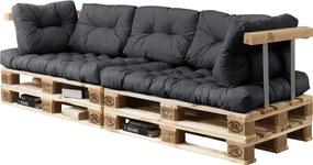 [en.casa]® Set perne interior - canapea paleti - 2 x perna sezut + 5 x perne spate - gri inchis