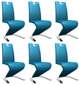 279456 vidaXL Scaune de bucătărie în zigzag 6 buc., albastru, piele ecologică