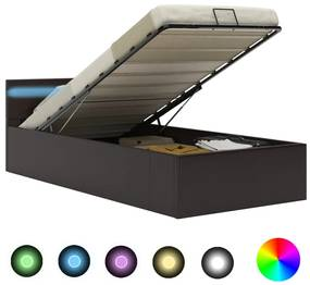285553 vidaXL Cadru pat hidraulic ladă și LED gri 100x200 cm piele ecologică