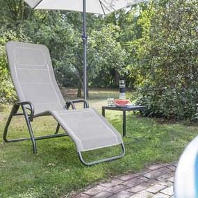 Sezlong reglabil Adriano, negru/taupe, 118 x 72 x 139 cm