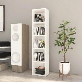 800429 vidaXL Dulap pentru CD-uri, alb extralucios, 21 x 16 x 93,5 cm, PAL