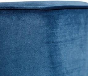 Puf Albastru din Catifea 41cm IXIA - Catifea Albastru Lungime (41cm) x Latime (42.5cm) x Inaltime (40cm)