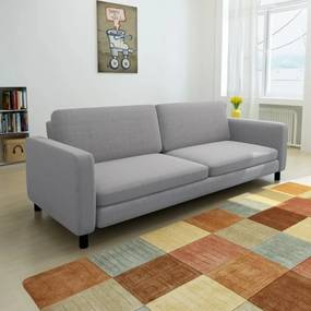 Canapea pentru 3 persoane, material textil, gri deschis