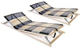 3051434 vidaXL Baze de pat cu șipci, 2 buc., 42 șipci, 7 zone, 90 x 200 cm