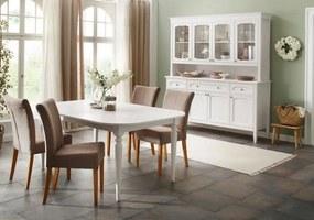 Masa extensibila Home Affaire, lemn masiv, alb, 76 x 115 x 170/214 cm