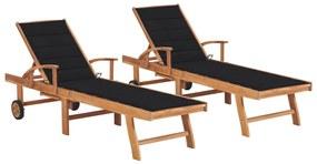 3073193 vidaXL Șezlonguri cu pernă neagră, 2 buc., lemn masiv de tec