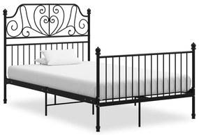 324847 vidaXL Cadru de pat, negru, 120x200 cm, metal și placaj