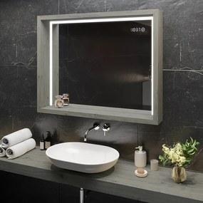 Oglindă cu carcasă şi iluminare LED WoodenFrame