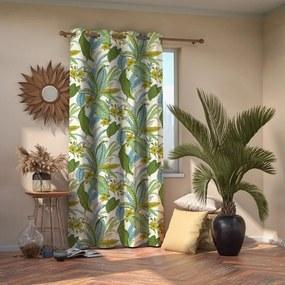 Draperie cu motive florale AmeliaHome, 140 x 245 cm, verde