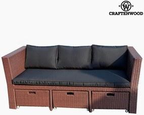 Sofa and Pouf Set (4 pcs) Ratan Maro Negru by Craftenwood