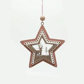 Decoratiune din lemn in forma de stea cu ren 11 cm