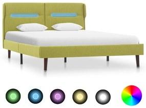 286903 vidaXL Cadru de pat cu LED-uri, verde, 120 x 200 cm, material textil