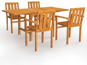 3059599 vidaXL Set mobilier de grădină, 5 piese, lemn masiv de tec