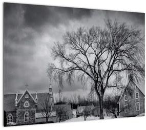 Tablou cu sat alb negru (70x50 cm), în 40 de alte dimensiuni noi