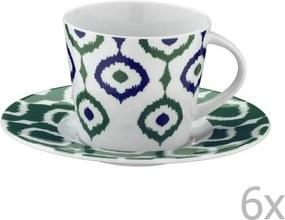 Set 6 căni din porțelan pentru ceai cu farfurioară Tatiana