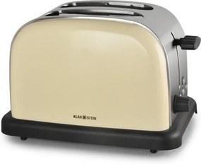 Prăjitor de pâine Klarstein BT-318-S, 2 felii, inox, crem