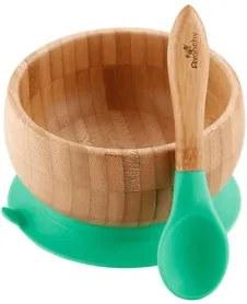 Bol din bambus pentru copii cu suport ventuză și linguriță | verde - Avanchy