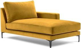 Șezlong cu tapițerie din catifea Kooko Home Harmony, colț pe dreapta, galben