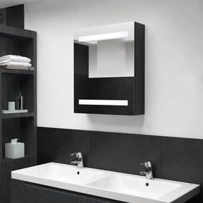 326480 vidaXL Dulap de baie cu oglindă și LED, negru, 50x14x60 cm