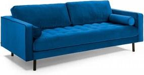 Canapea albastra din catifea 180 cm Bogart La Forma