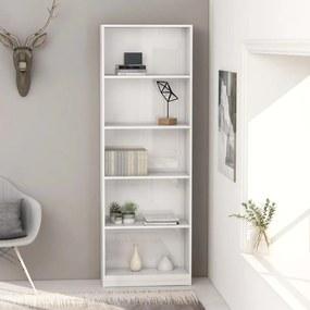 800888 vidaXL Bibliotecă cu 5 rafturi, alb extralucios, 60 x 24 x 175 cm, PAL