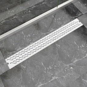 Rigolă liniară duș, model ondulat, oțel inoxidabil, 930x140 mm