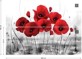 Fototapet GLIX - Red Poppies + adeziv GRATUIT Tapet nețesute - 254x184 cm