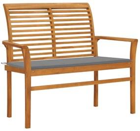 3062650 vidaXL Bancă de grădină, cu pernă gri, 112 cm, lemn masiv de tec