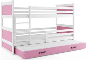 Expedo Pat supraetajat FIONA 3 COLOR + saltea + somieră GRATIS, 80x190 cm, alb, roz