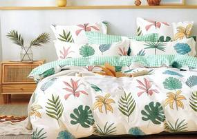 Lenjerie de pat crem, cu motiv colorat cu frunze 3 părți: 1ks 200x220 + 2ks 70 cmx80
