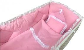 Lenjerie de pat bebelusi brodata Fii binecuvantat ingeras 140x70 cm roz