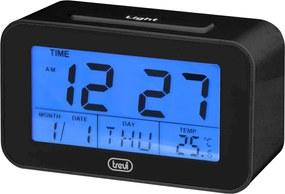 Ceas desteptator cu LCD SLD 3P50, termometru, calendar, negru, Trevi