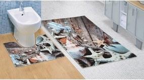 Covoraș baie Scoici de mare 3D, 60 x 100 + 60 x 50 cm