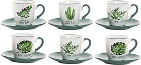 Set 6 cesti si farfurii Botanical din ceramica