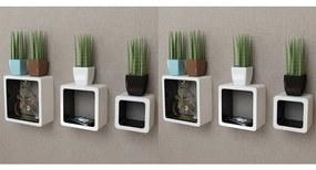 Rafturi cub de perete, 6 buc., alb și negru
