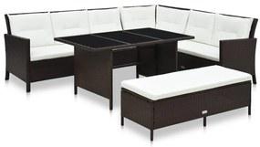 48153 vidaXL Set mobilier de grădină cu perne, 3 piese, maro, poliratan