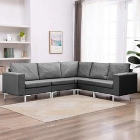 287191 vidaXL Set de canapele, 5 piese, gri închis, material textil