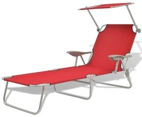 42933 vidaXL Șezlong de plajă cu baldachin, roșu, oțel