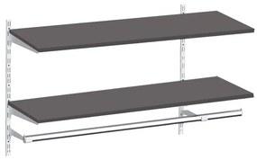 Raft depozitare suspendabil cu polite si bara de haine, Metal/PAL Alb/Wenge, 80x30x50 cm