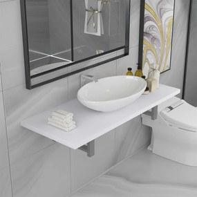 279360 vidaXL Set mobilier de baie, 2 piese, alb, ceramică