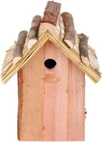 Căsuță din lemn de pin și acoperiș din paie pentru păsări Esschert Design Antik, înălțime 27 cm