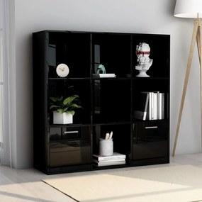 801123 vidaXL Bibliotecă, negru extralucios, 98 x 30 x 98 cm, PAL