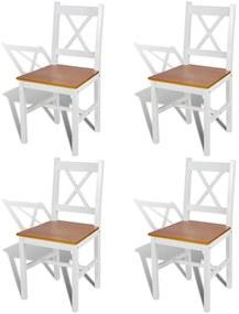 241513 vidaXL Scaune de bucătărie, 4 buc., alb, lemn de pin