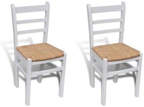 241252 vidaXL Scaune de bucătărie, 2 buc., alb, lemn de pin și stuf