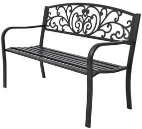 42168 vidaXL Bancă de grădină, negru, 127 cm, fontă