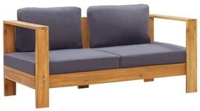 47276 vidaXL Bancă de grădină cu perne, gri, 140 cm, lemn masiv de acacia